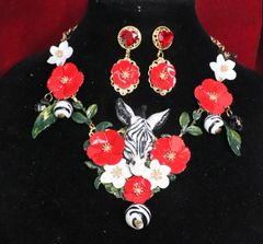 SOLD! Set Of 6103 Art Jewerly 3D Effect Hand Painted Zebra Red Flowers Massive Necklace