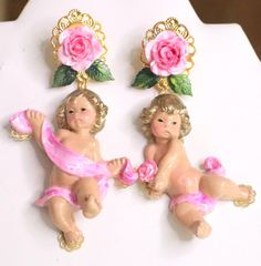 6116 Baroque Musical Hand Painted Roses Cherubs Angels Statement Earrings