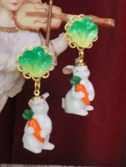 6120 SOLD! Adorable 3D Effect Art Jewelry Bunny Cabbage Statement Earrings