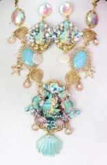 SOLD! 6117 Birth Of Venus Sea Horse Baroque Genuine Australian Triplet Opal Necklace SET