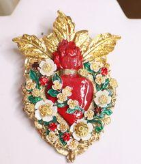 SOLD! 6124 Baroque Sacred Heart Glitter Brooch