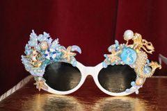 6126 Baroque Mermaid Nautical Coral reef Embellished Sunglasses