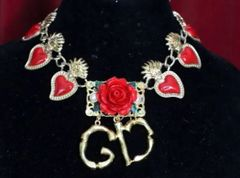6122 Hand Painted Baroque Sacred Hearts Roses Elegant Choker Necklace