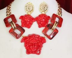 6144 Set Of Hand Painted Baroque Red Medusa Head Statement Necklace+ Earrings