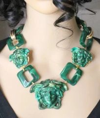 6143 Hand Painted Baroque Malachite Effect Medusa Head Statement Necklace