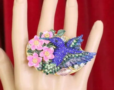 6067 Baroque Double Finger Crystal Hummingbird Flowers Adjustable Ring