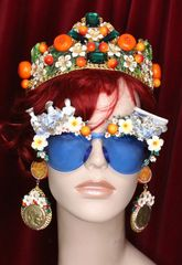 6153 Baroque Roman Statue Orange Fruit Embellished Sunglasses