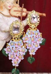 SOLD! 6152 Baroque Runway Hand Painted Hydrangea Studs Earrings