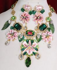 6155 Runway Designer Lily Orchid Flower Crystal Statement Necklace