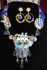 6157 Set Of Baroque Genuine Tourmaline Sulemani Agate Hand Painted Nautical Ship Vacation Necklace+ Earrings