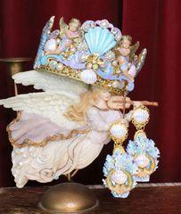 SOLD! 6158 Baroque Hand Painted Cherubs Seahorse Shell Nautical Marine Crown