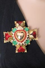 6173 Baroque Sacred Heart Colorful Brooch