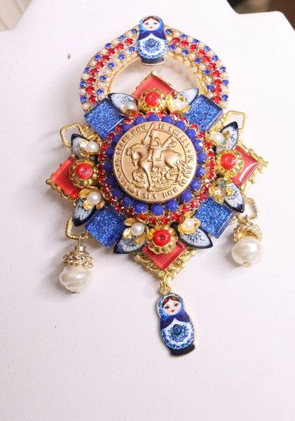 6176 Baroque Russian Doll Matryoshka Vintage Style Colorful Brooch