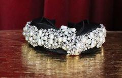 6177 Baroque Pearl Bow Beaded Black Headband