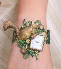 SOLD! 6179 Art Jewelry Hand Painted Squirrel Watch Bracelet