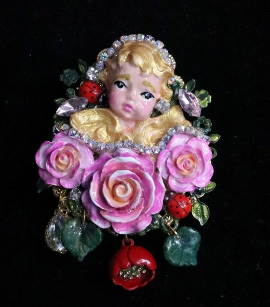 6181 Baroque Hand Painted Vivid Cherub Angel Fuchsia Roses Brooch