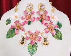 SOLD!6182 Set Of Enamel Orchids Leaf Bee Flowers Massive Necklace+ Earrings