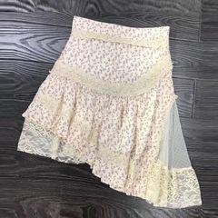 6188 Runway 2019 Patchwork Lace Details Floral Print Mini Skirt