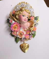 SOLD! 6196 Baroque Hand Painted Vivid Chubby Cherub Angel Fuchsia Roses Brooch