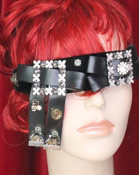 6198 Baroque Runway Leather Bow Crystal Headband