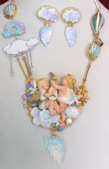 SOLD! 6200 Set Of Hand Painted Vivid Angels Cherubs In a Cloud Necklace+ Earrings