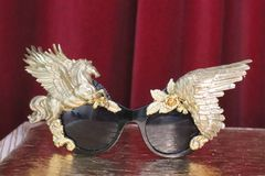 SOLD! 6203 Baroque Gold Winged Pegasus Baroque Sunglasses