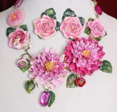 6206 Set Of Baroque Art Nouveau Vivid Asters Flowers Crystal Bee Hand Painted Necklace + Earrings