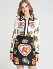 6211 Runway 2019 Floral Hearts Patches Shirt+ Mini Skirt Twinset