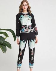 6213 Runway 2019 Novelty Print Elegant Track Suit Twinset