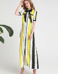 6215 Runway 2019 Color Block Wide Striped Bow Shirt- Dress