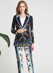 6217 Runway 2019 Marine Nautical Print Elegant Suit Blazer+ Pants Twinset