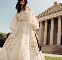 6219 Runway 2019 Crochet 2 Colors Folk Sleeve Maxi Dress