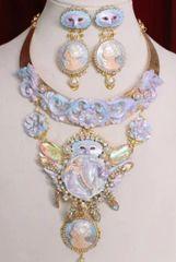 SOLD! 6220 SET Art Nouveau Pearlish Purple Winged GoddessZibellini Cameo Statement Necklace