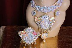 SOLD! 6221 Art Nouveau Pearlish Purple Winged Goddess Cuff Bangle