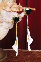 SOLD! 6222 Baroque Runway 2019 Enamel Lily Calla Studs Earrings