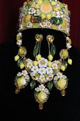 SOLD! 6226 Set Of Hand Painted Baroque Lemon Fruit Flower Blossom Massive Necklace+ Earrings