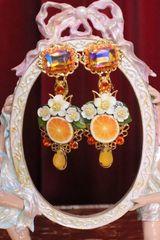 6227 Baroque Sicilian Orange Fruit Studs Earrings