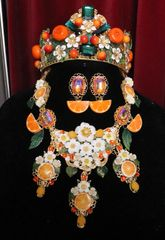 SOLD! 6228 Set Of Hand Painted Baroque Orange Fruit Flower Blossom Massive Necklace+ Earrings