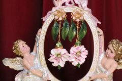 6231 Baroque Hand Painted Lily Flower Dangle Earrings