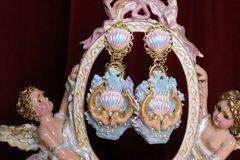 6232 Baroque Hand Painted Blue Coral Reef Mermaids Stunning Studs Earrings