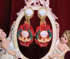 6233 Baroque Hand Painted Red Coral Reef Mermaids Stunning Studs Earrings