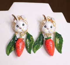 6235 Adorable Enamel Bunny Rabbit Carrot Cabbage Hand Painted Earrings