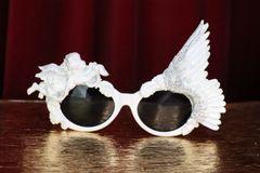 SOLD! 6238 Baroque Glitter Winged Cherub Angel Sunglasses