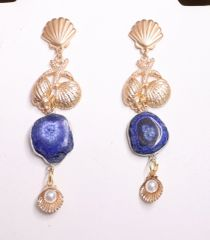 6241 Genuine Agate Shell Nautical Marine Studs Earrings