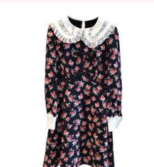 6245 Runway 2019 Ditsy Floral Victorian Velvet Mini Dress