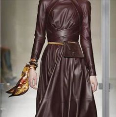 6250 Runway Faux Leather Long Sleeve Midi Dress