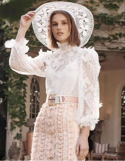 6252 White Laced Blouse High-End Two Colors: White or Black