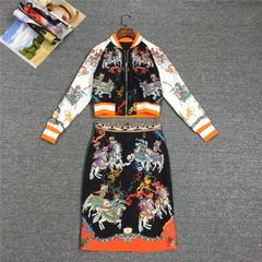 6255 Runway 2019 Designer Inspired Baroque Knights Print Bomber + Skirt Twinset