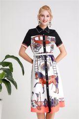 6256 Runway 2019 Designer Inspired Horse Scarf Print Midi Shirt- Dress