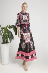6258 Runway 2019 Designer Inspired 2 Colors Baroque Floral Scarf Print Maxi Dress